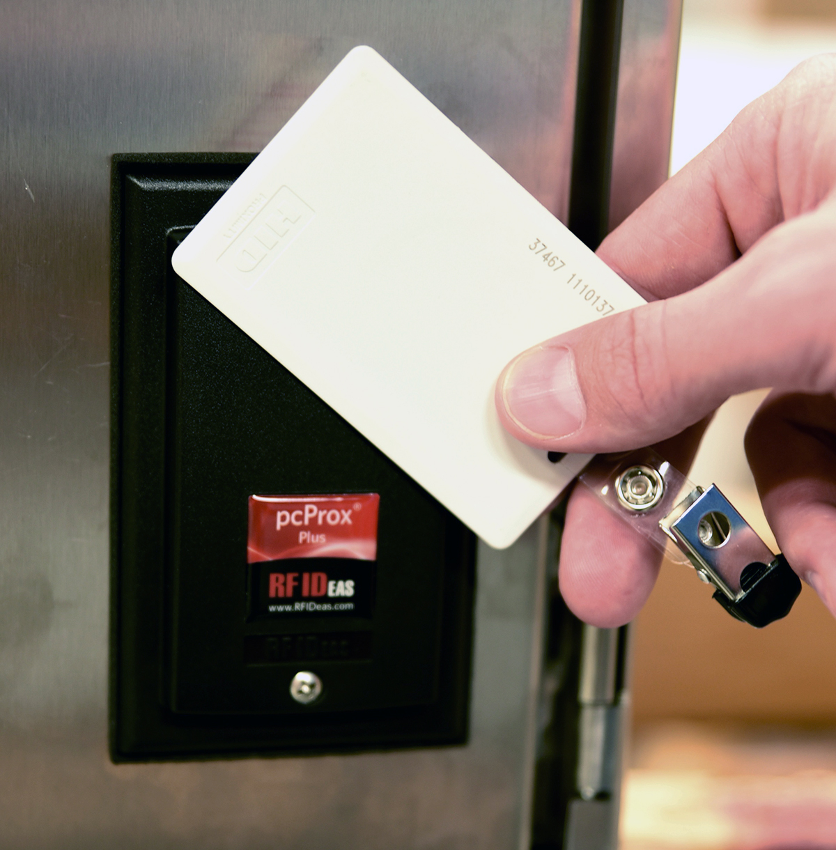 Operator using RFID tag to quickly login
